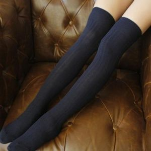 Miss Babydoll Accessories - NEW Sexy Knit Over the Knee Navy Blue Stockings
